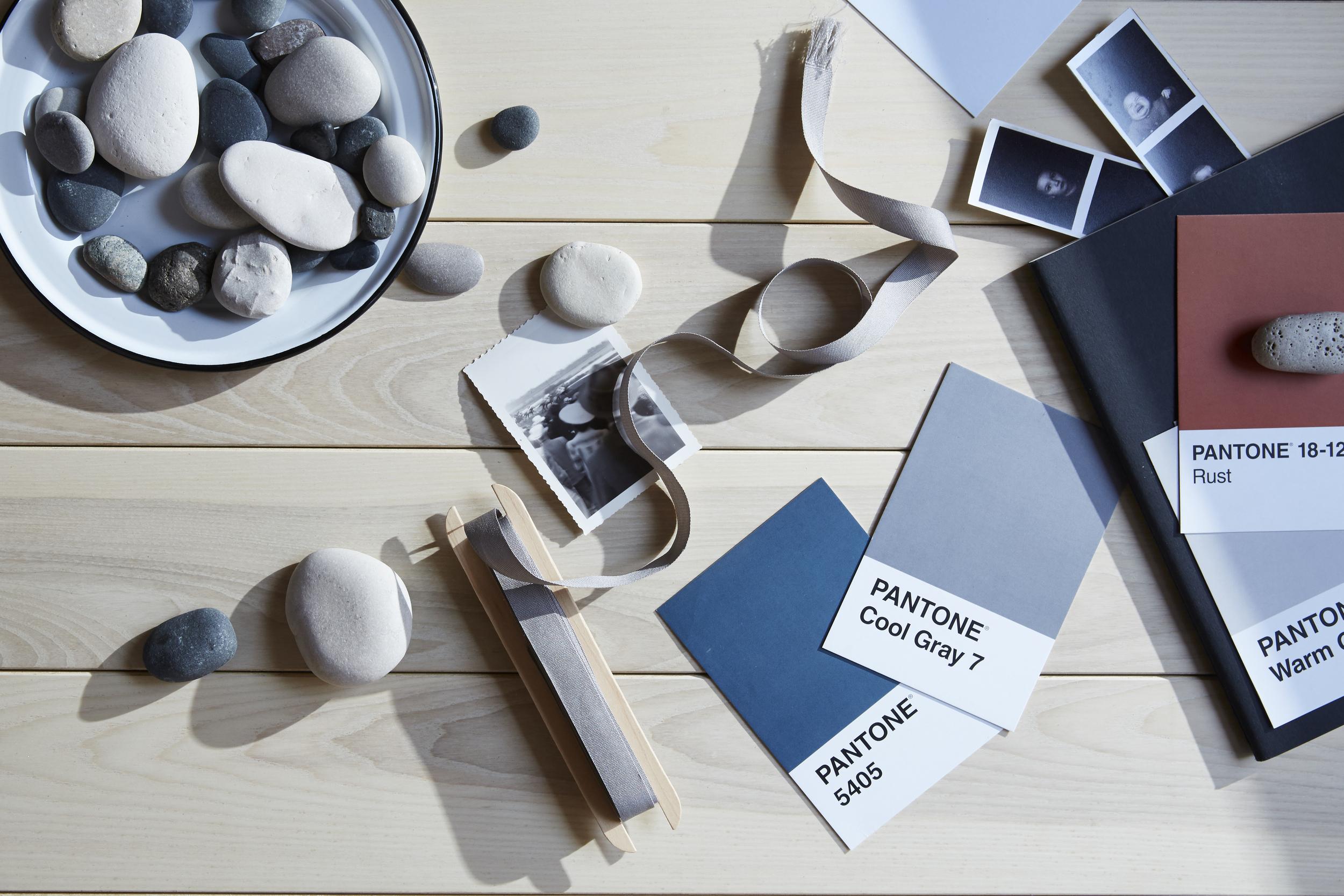 Custom mood board by designer Amanda Jane Jones for The Hudson Company, featuring  Select Harvest Ash [Neva Finish] flooring.