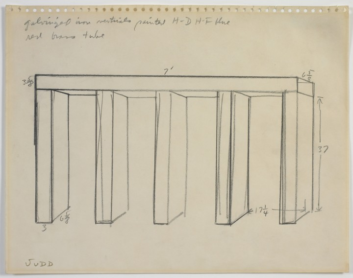 Donald Judd, Untitled sketch, 1967, Graphite on paper. (C) Judd Foundation.