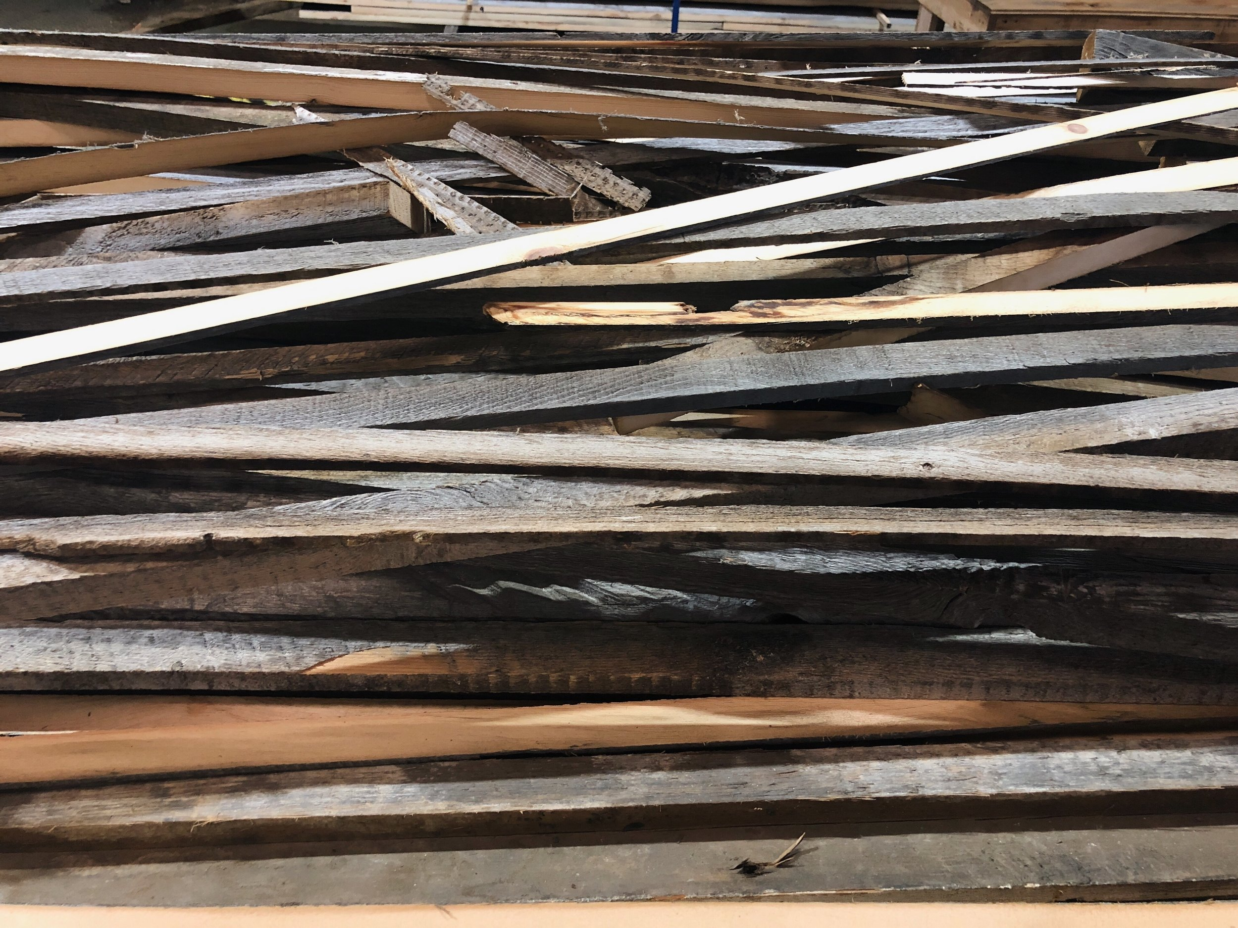 'Rippings,' scraps created during the process of milling Reclaimed White Pine planks at The Hudson Company Mill in Pine Plains, NY.