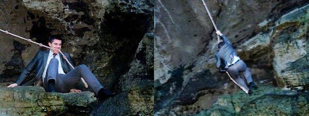 Elliði stundar gjarnan þjóðaríþrótt Vestmannaeyja, sprangið, uppábúinn í lakkskónum .