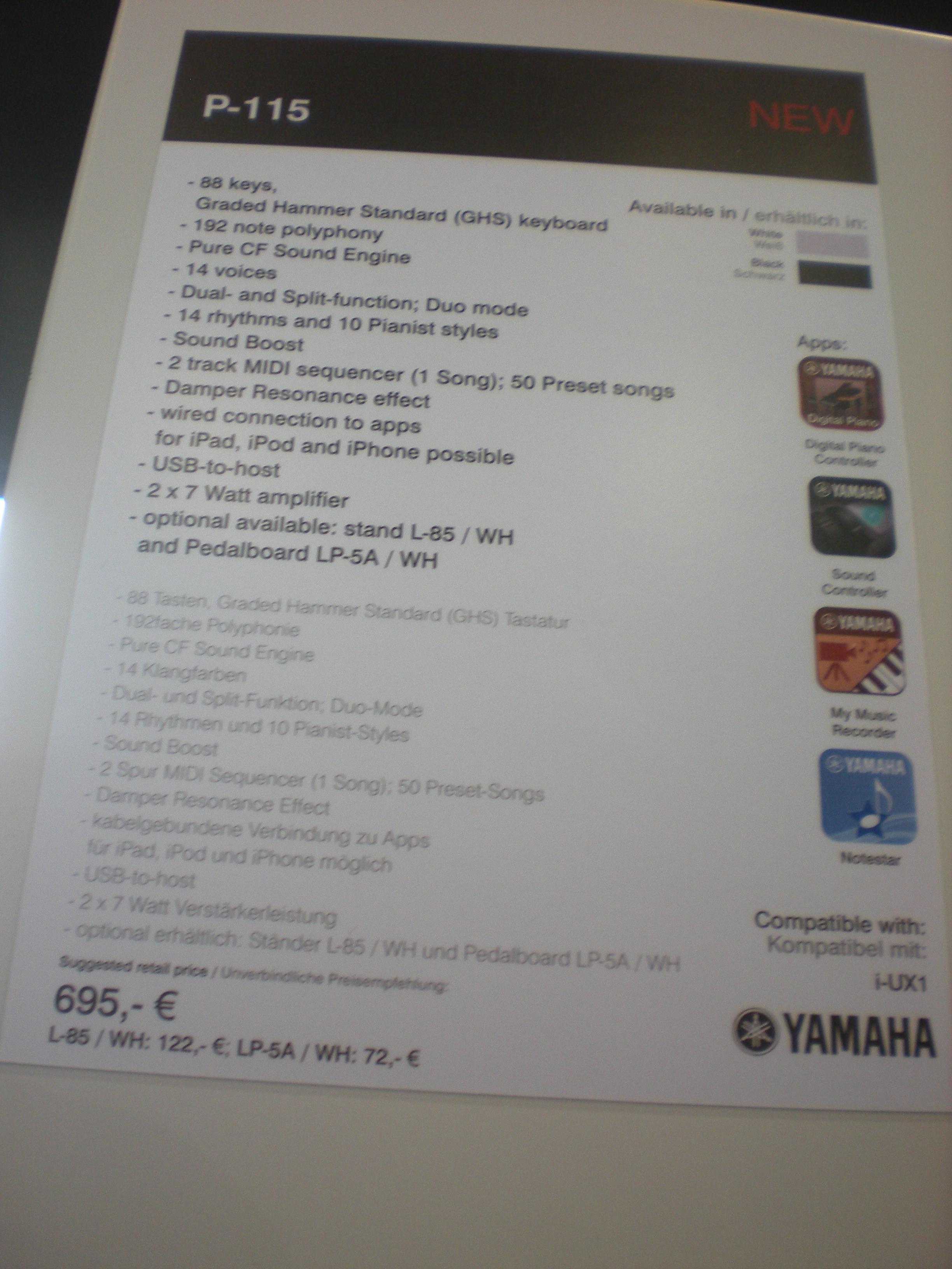 Yamaha P-115 - specyfikacje