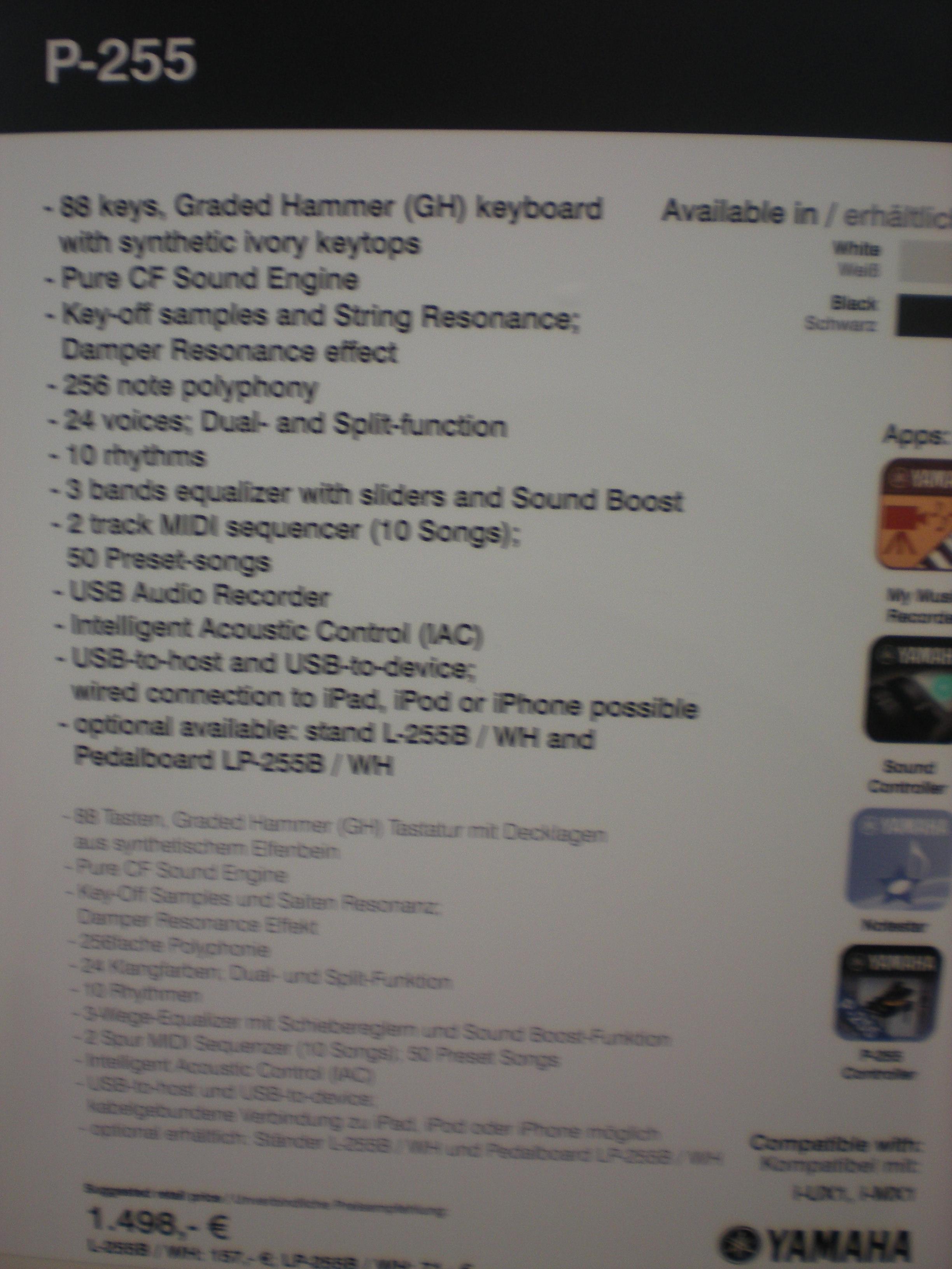 Yamaha P-255 - specyfikacje