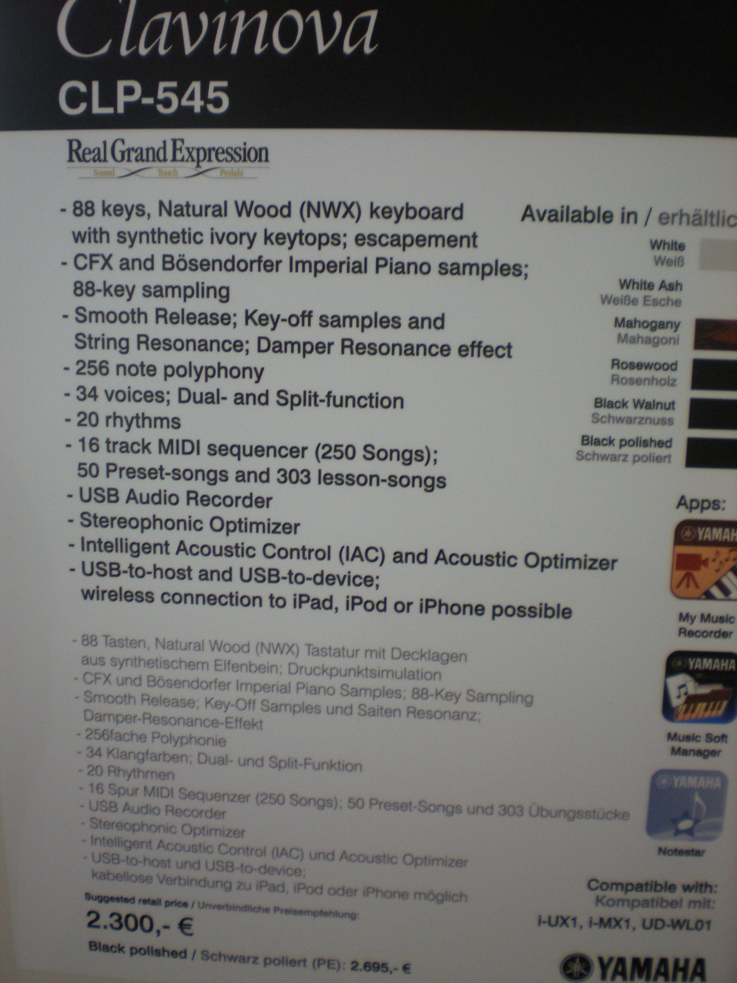 Clavinova CLP-545 - specyfikacja