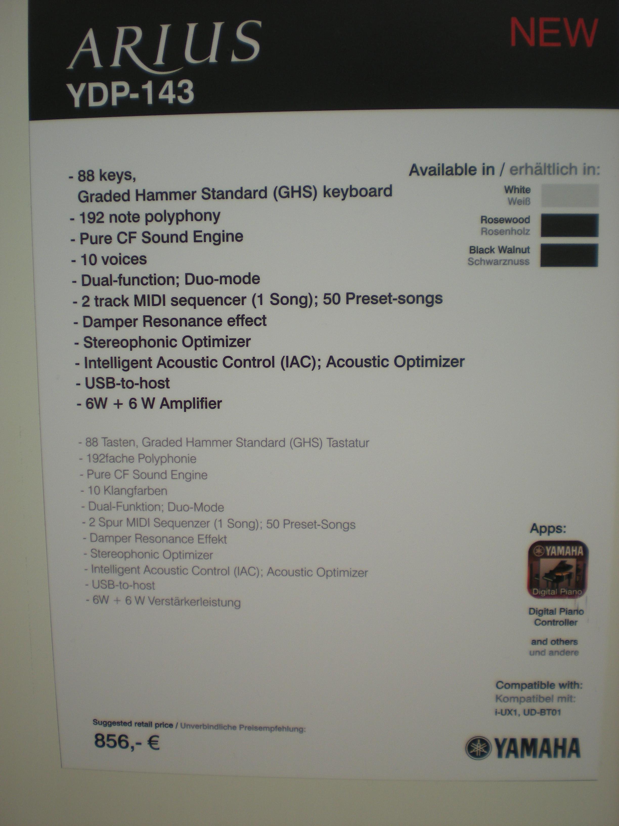 Yamaha YDP-143 specyfikacje
