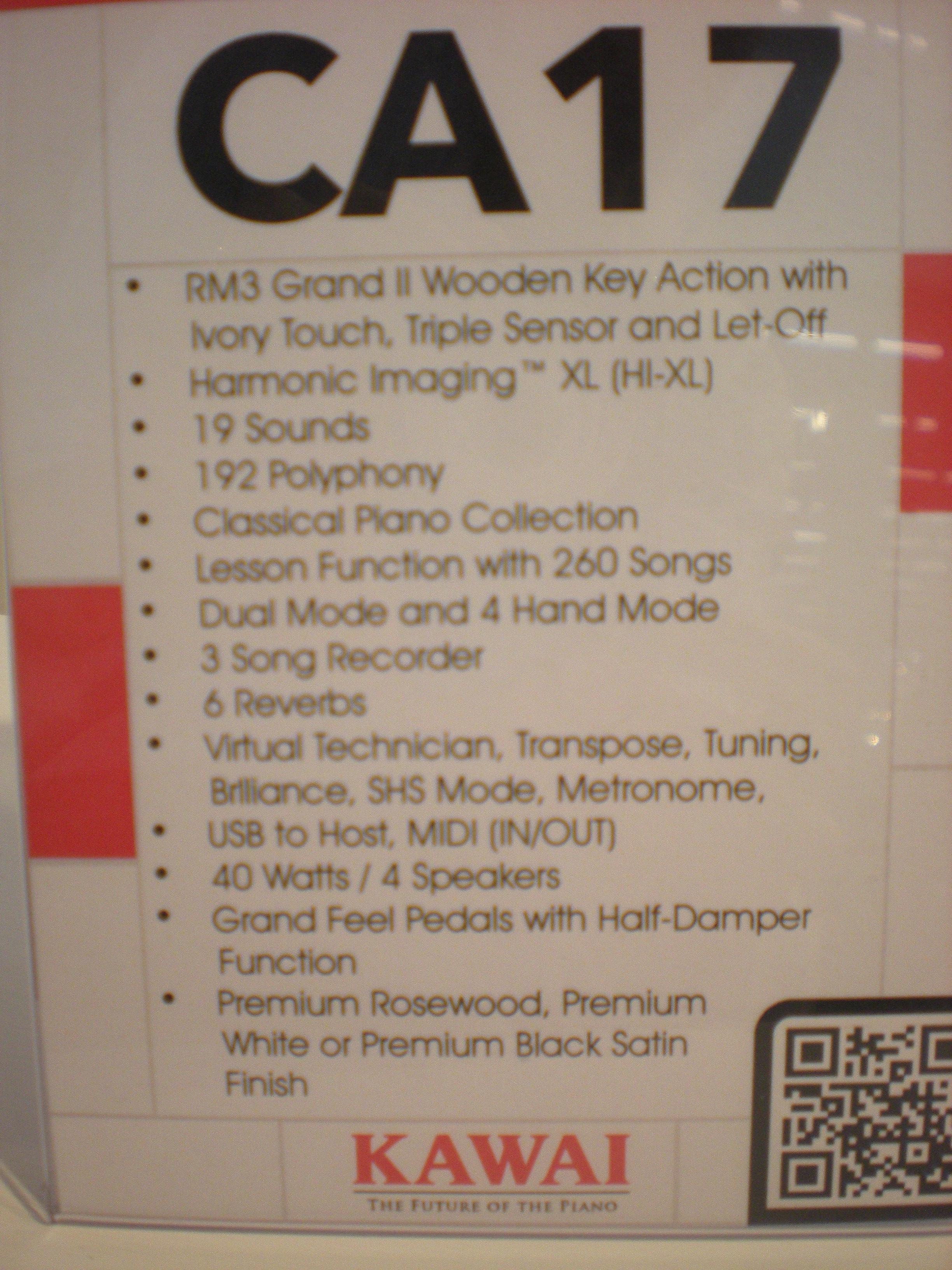 Kawai CA17 specyfikacja