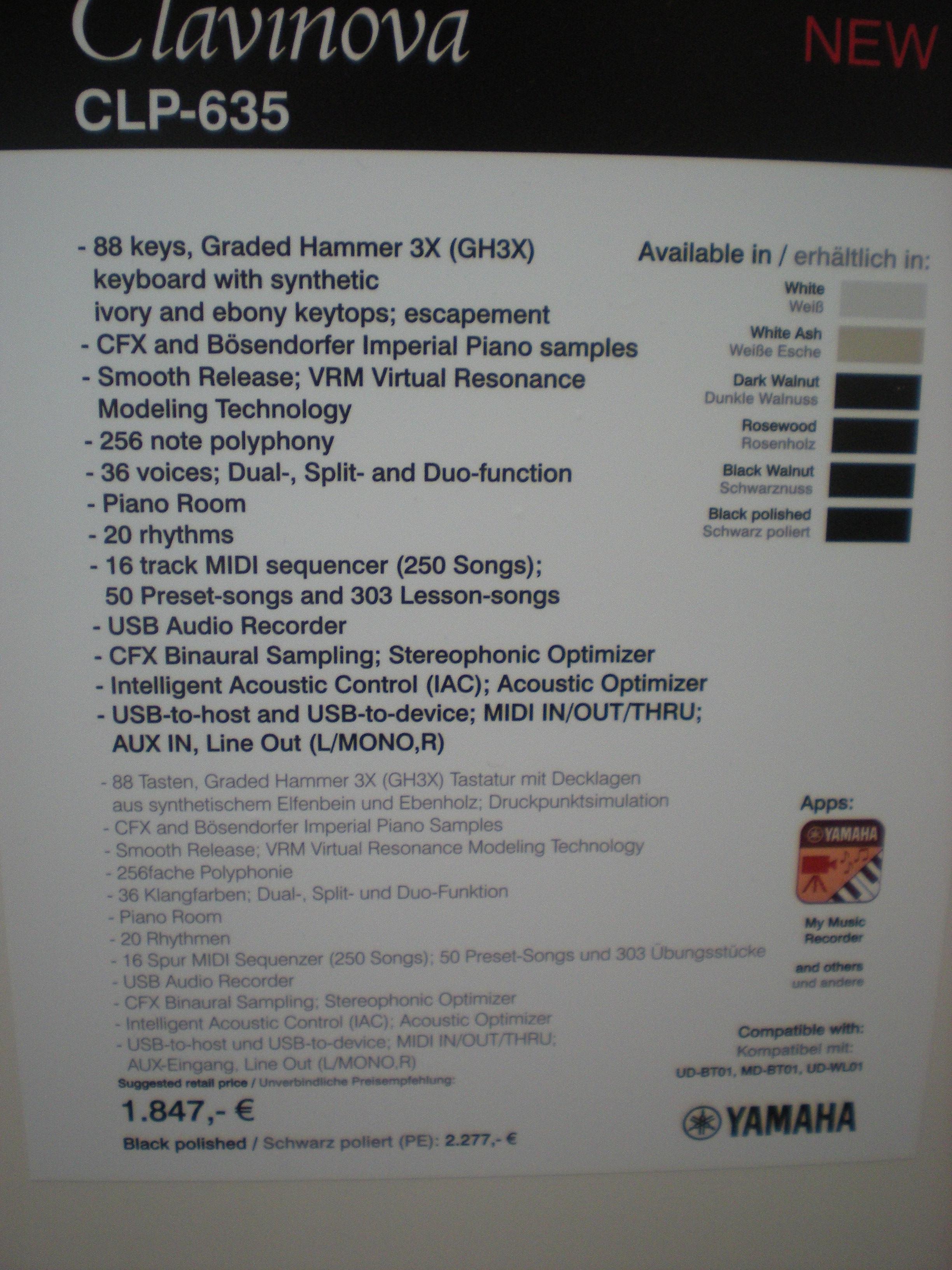 Yamaha CLP-635 - specyfikacje