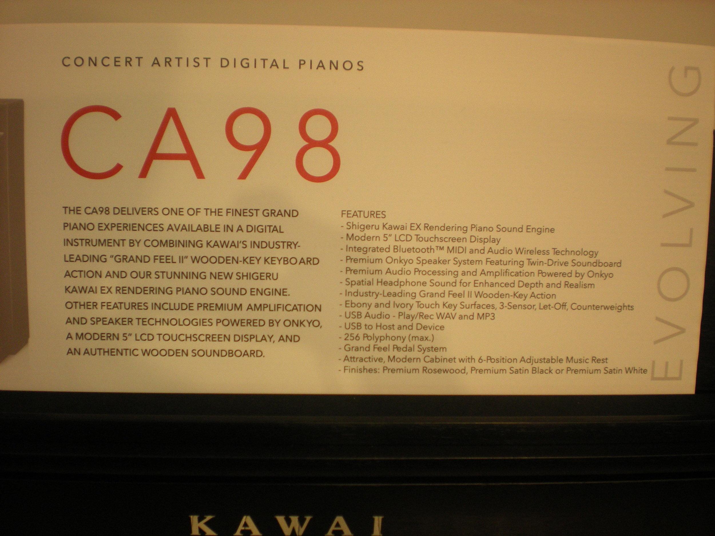 Kawai CA98 - specyfikacja