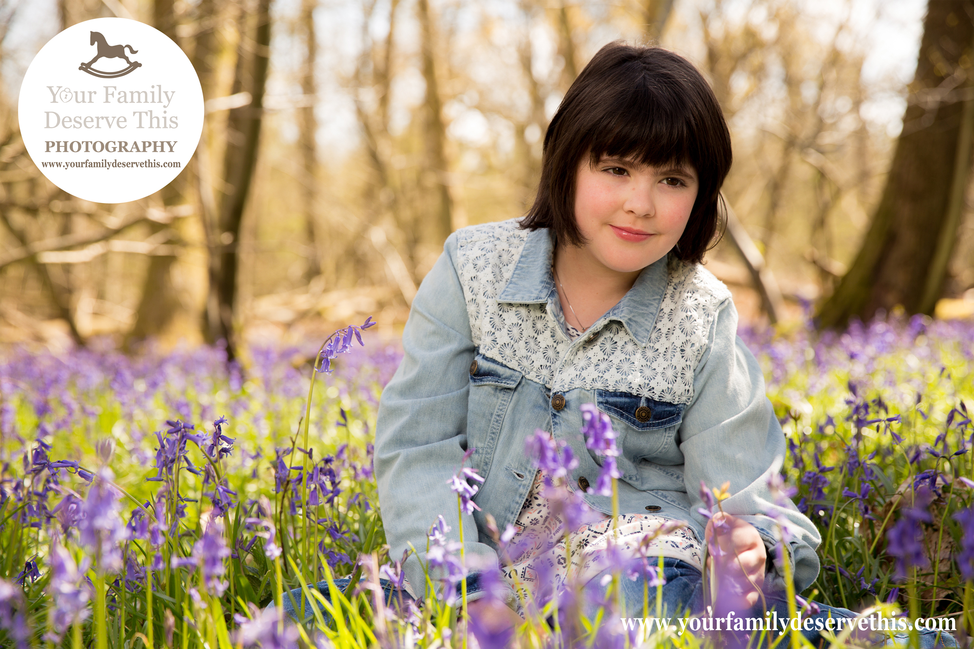 Tween Portraits for girls in the bluebells. Pre-teen photoshoots with  YourFamilyDeserveThis Photography Studio.