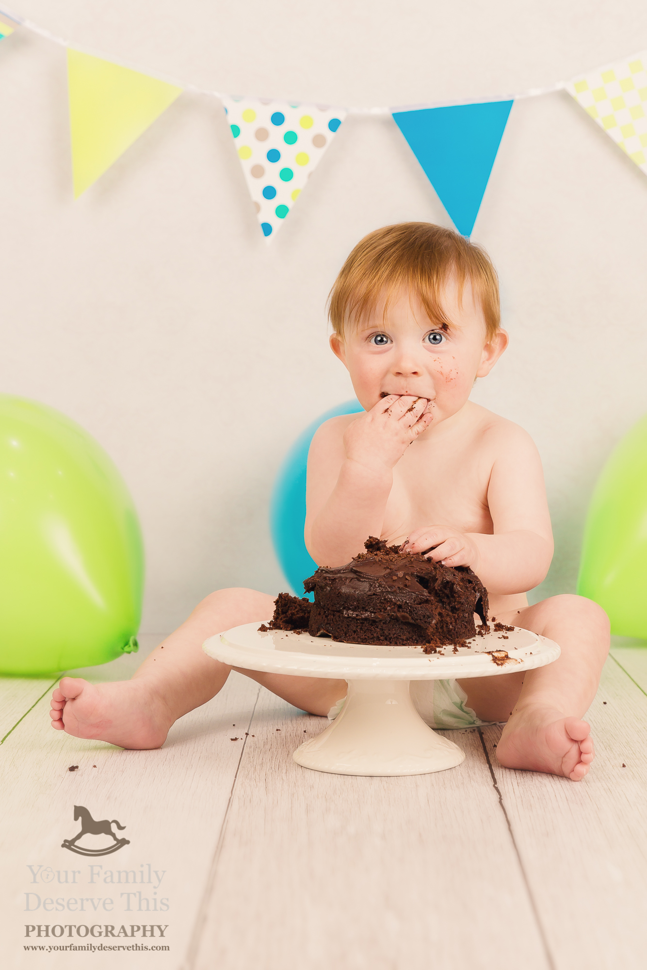 Oh my goodness! Can you taste the chocolate. Cake Smash Photoshoots with  yourfamilydeservethis.com