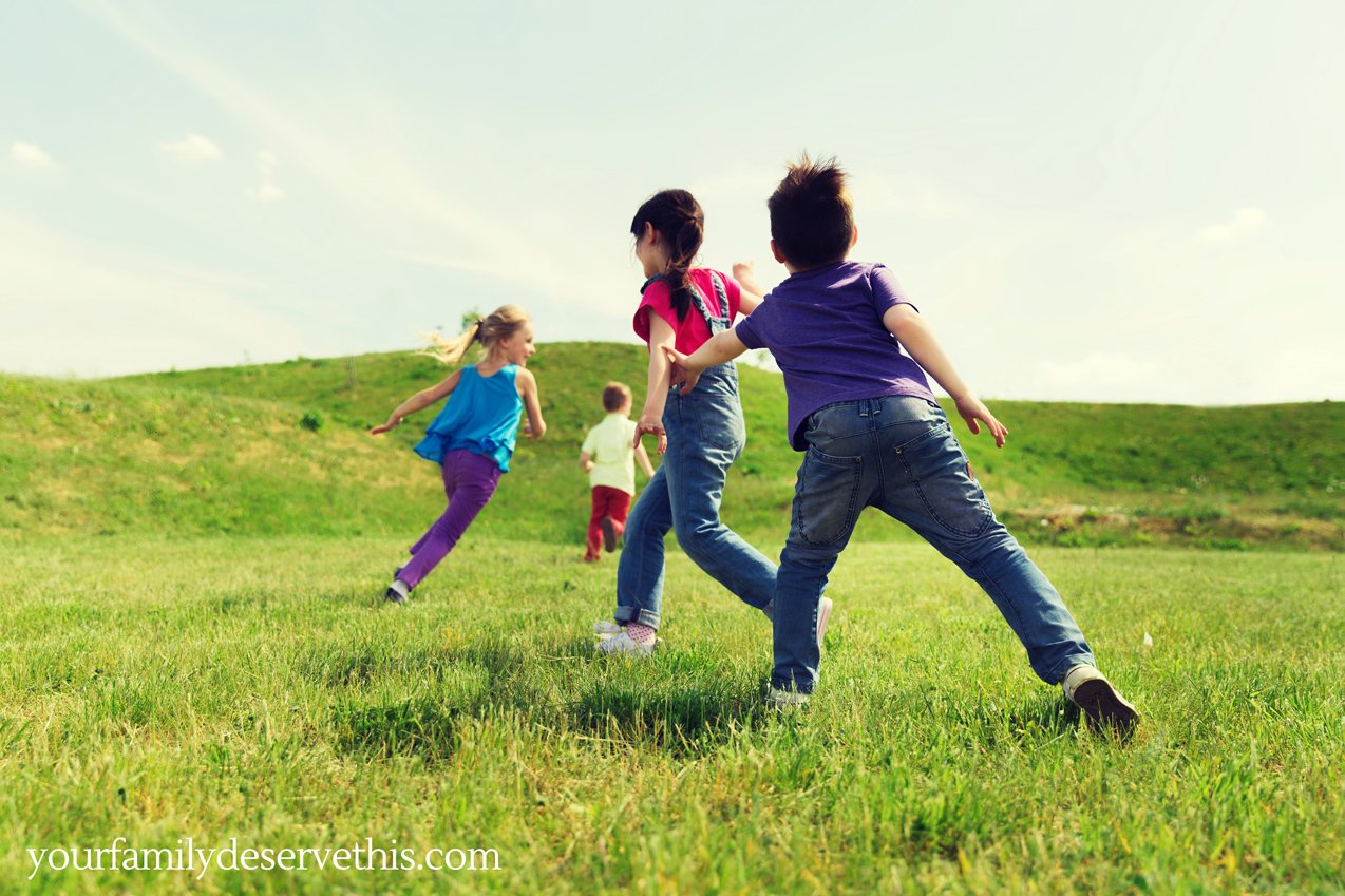 Children playing tag, kids playing outside.  yourfamilydeservethis.com