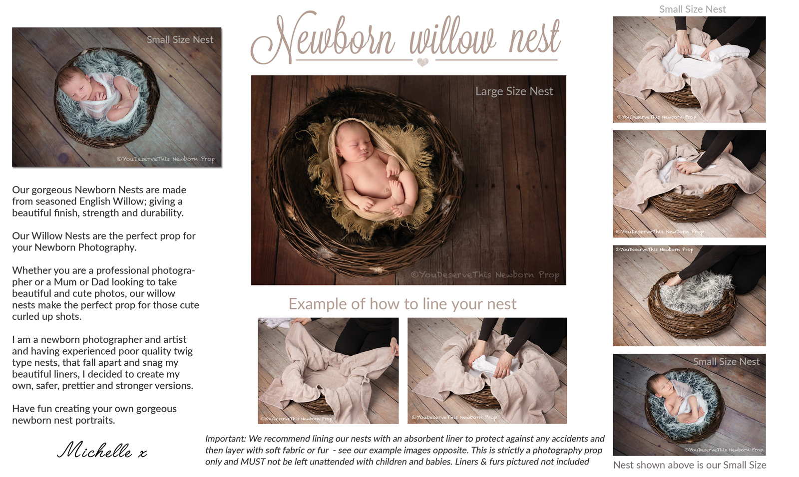 Newborn photography props - Photo Nest Prop - English Willow Nest Props - learn how to line your newborn nest prop -  Learn More