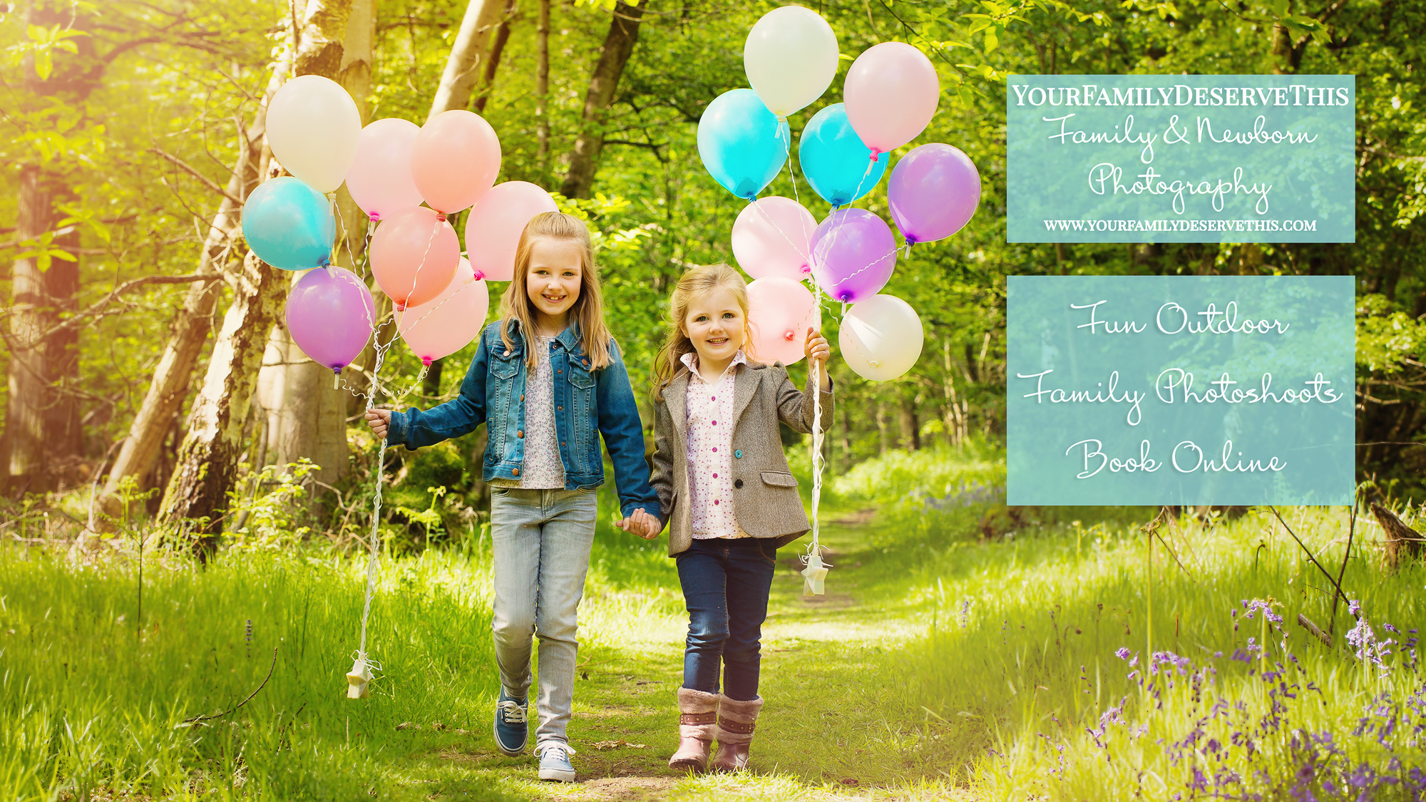 children walking in forest with colourful balloons - Outdoor photoshoots Hampshire photographer.jpg