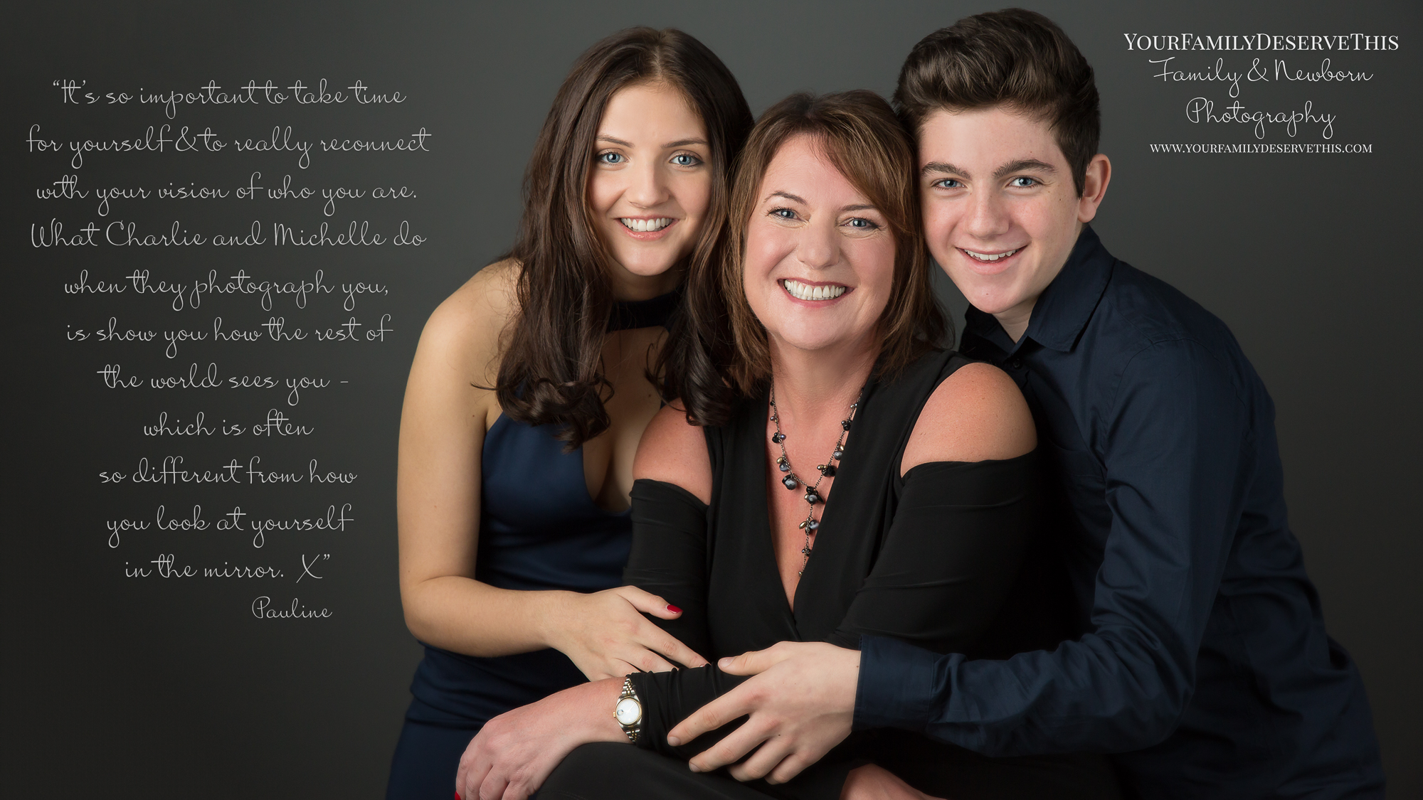 Mum being hugged by son and daughter - photographer YourFamilyDeserveThis Photography Studio Tadley Hampshire.jpg