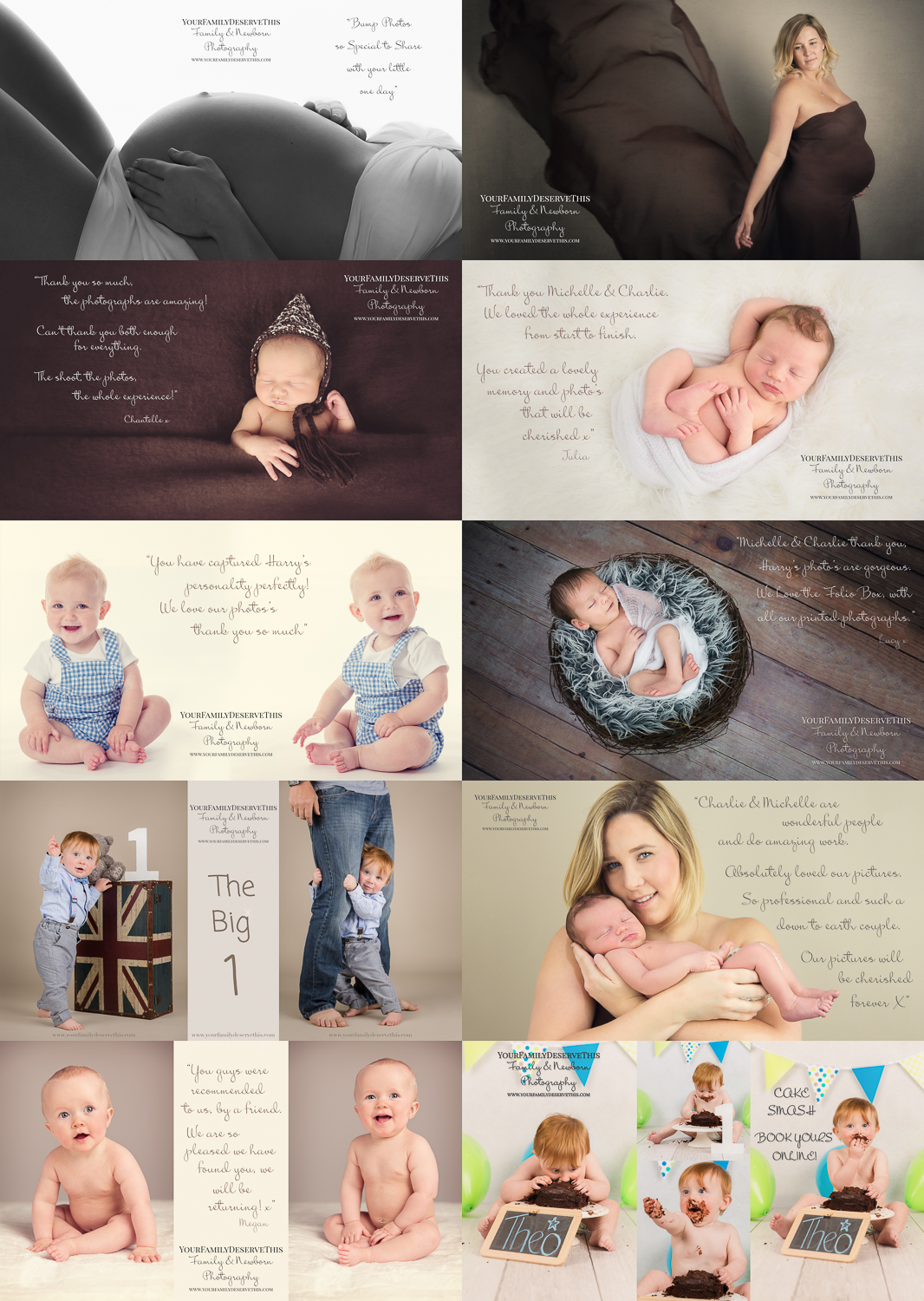 For the ultimate collection of portraits from pregnancy through to baby's first birthday this 'Bump and Baby's First Year' Photoshoot Package is incredible value. Includes 'Bump' , 'Newborn', '6 month baby' and '1st Birthday' Photoshoots.  www.yourfamilydeservethis.com