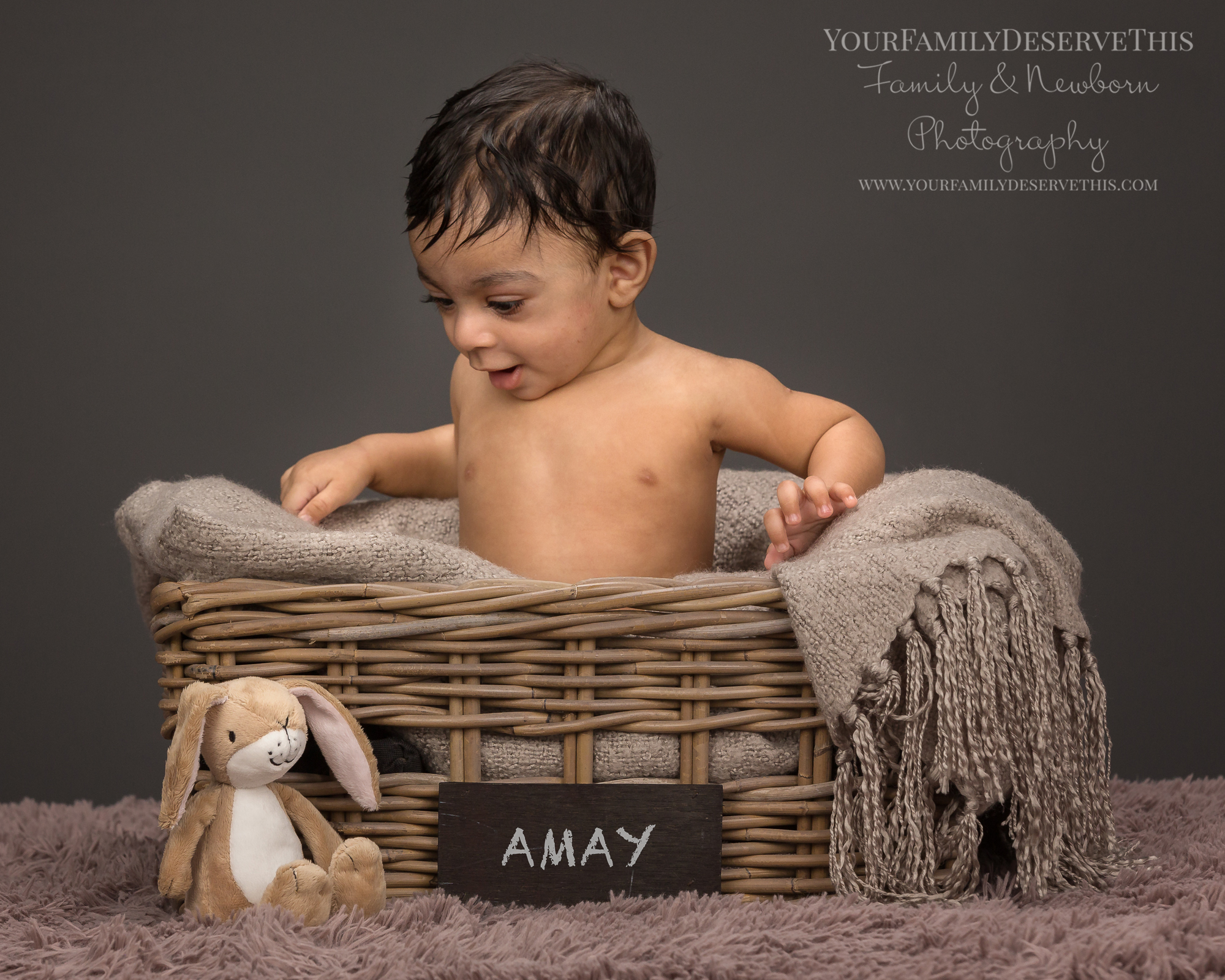 Amay bought his Little Nutbrown Hare along for his next photoshoot.  6 Month Baby Photoshoot.