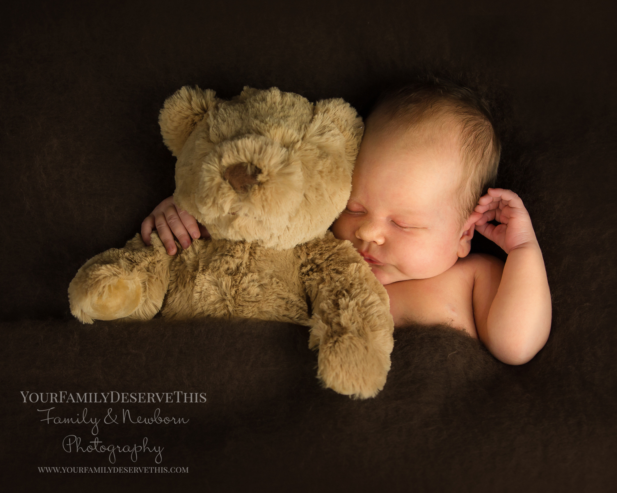 Gorgeous Imogen and her teddy bear all snuggled up for sleepy time... just 18 days new.  Newborn Photographer Berkshire.