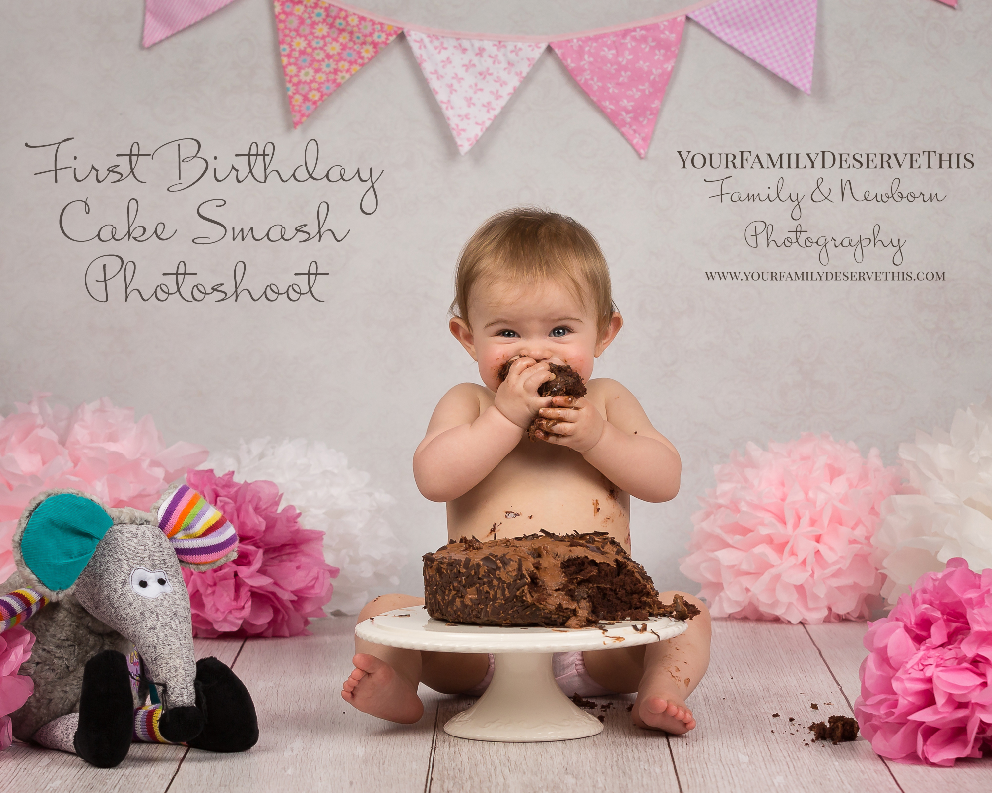 Choose to include a Cake Smash at your baby's 1st Birthday Photoshoot.