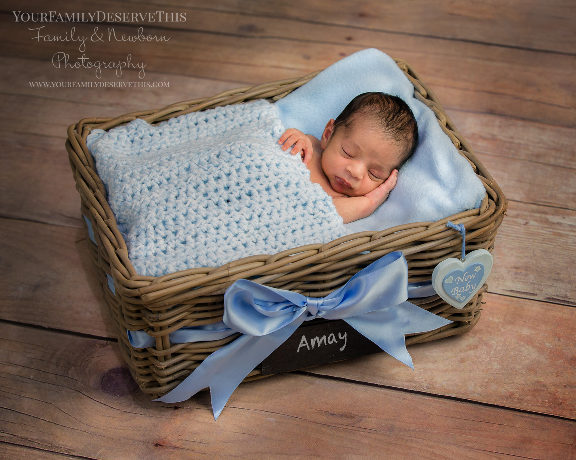 Our baby in a basket shot makes a wonderful birth announcement or thank you card. Hampshire Newborn Photography Studio www.yourfamilydeservethis.com