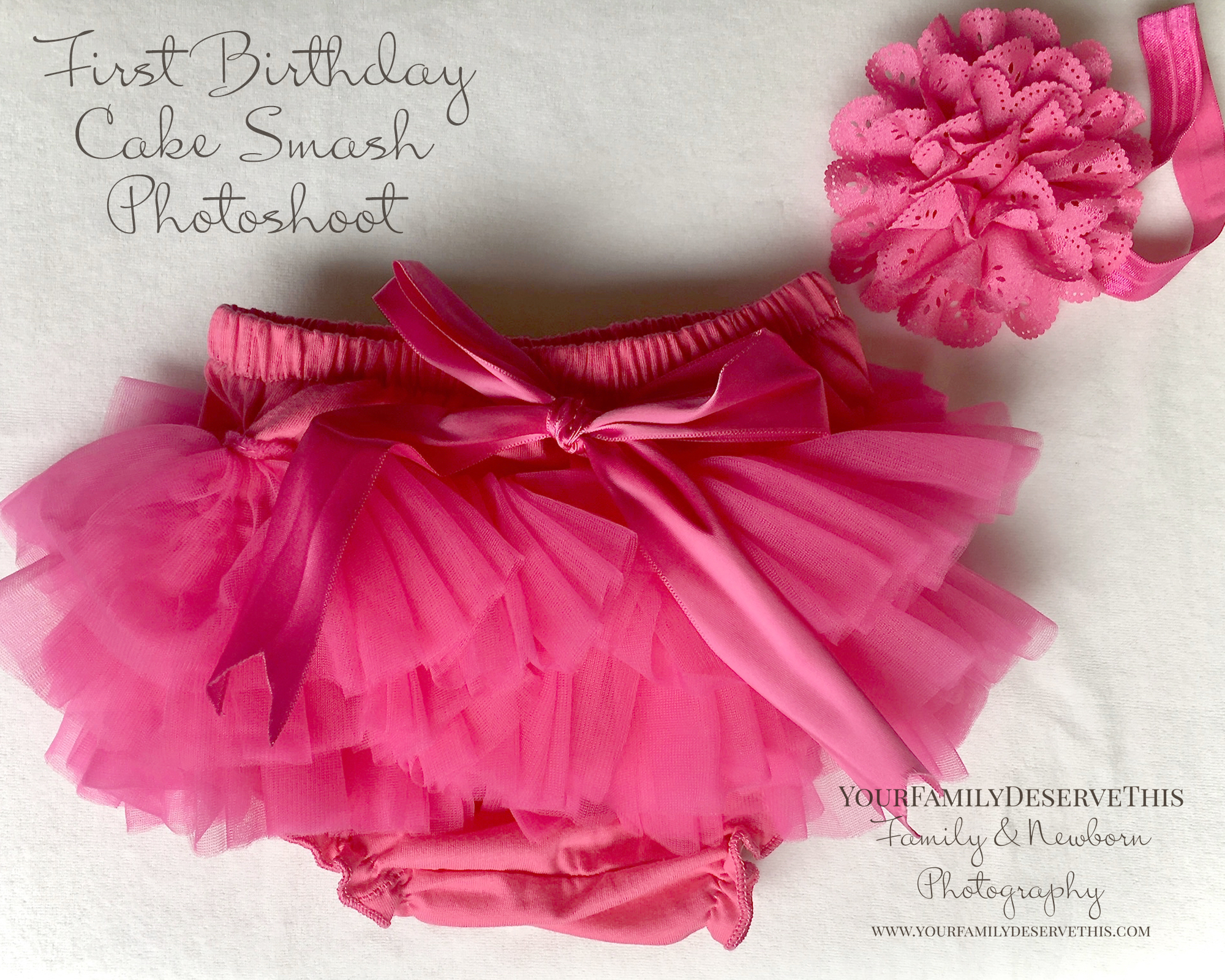 Frilly pink nappy cover cake smash matching hair band.jpg