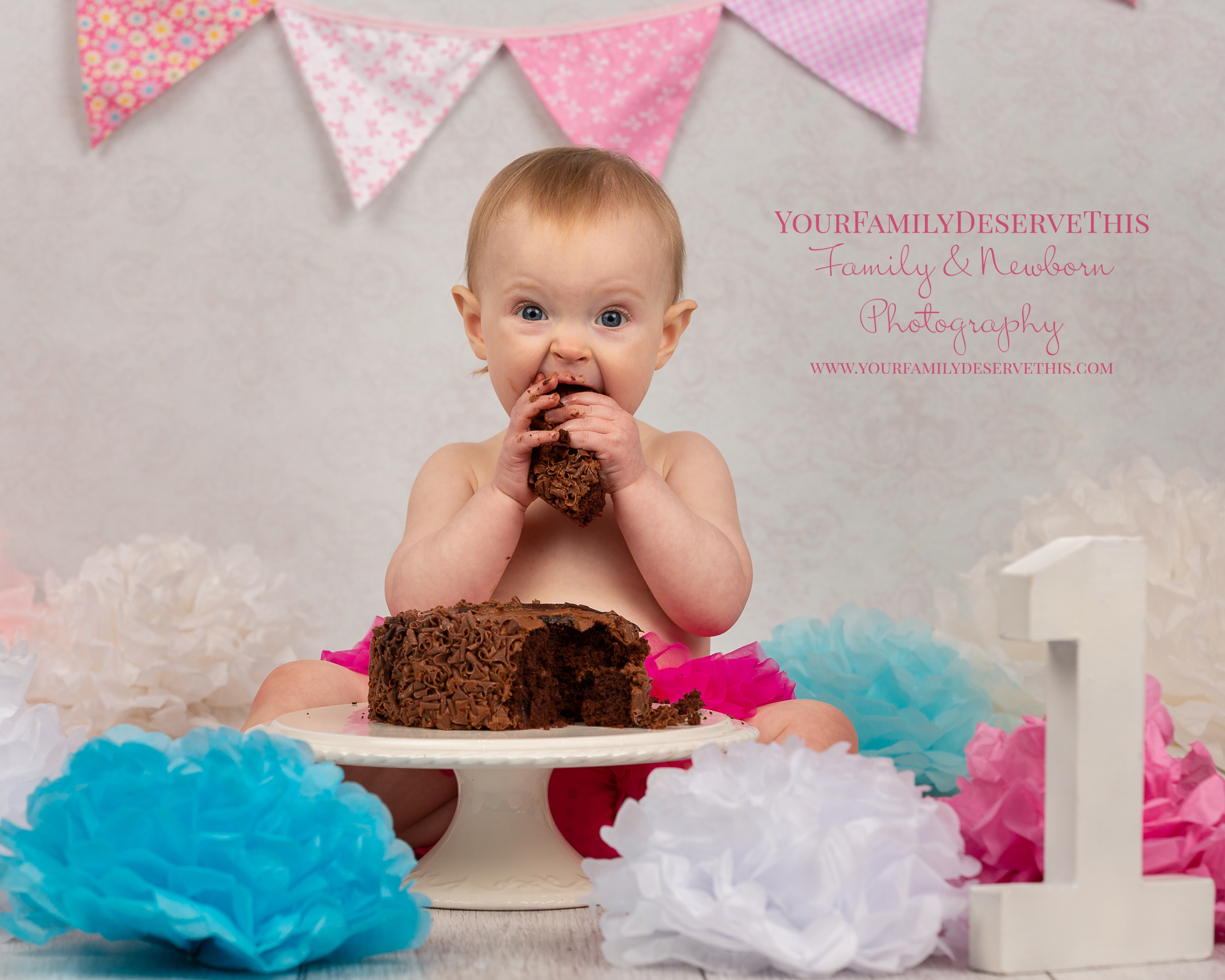 Evie Mc Cake Smash pompoms bunting chocolate baby photographer thatcham.jpg