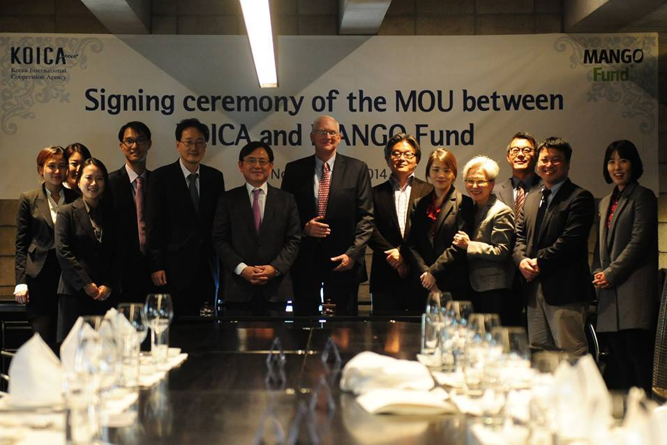 Andy Mills from Mango Fund with the KOICA team during the after signing the Memorandum of Understanding between the two organizations