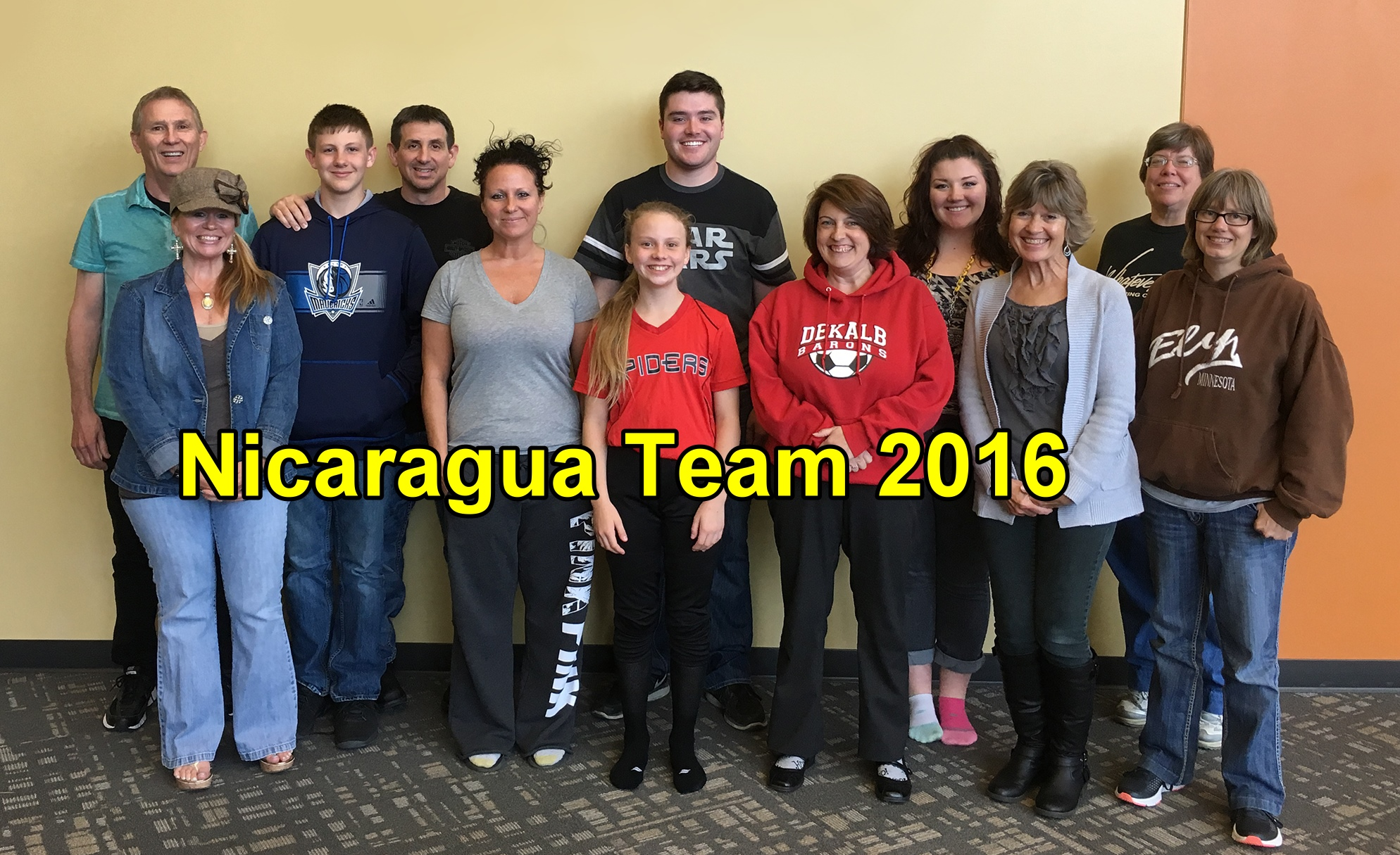 "We are just a few days away from our trip to Nicaragua to share the hope of Jesus with the people there and to encourage our sister church, the ""Tabern á culo de Agua Viva"" (Tabernacle of Living Water). Team members are (l to r):  Bill Lyne, Michelle Snyder, Cayden Skaggs, Kyle Skaggs, April Bednarczyk, Gracey Yarian, Gavin Moser, Natalie Haley, Amber Poling, Sue Lyne, Becky Gordon, Jennie Stauffer      The team leaves Saturday morning, and we invite you to come and pray with them at 8am at the church.      We will try to post here daily, so check regularly...and keep us in your prayers!"