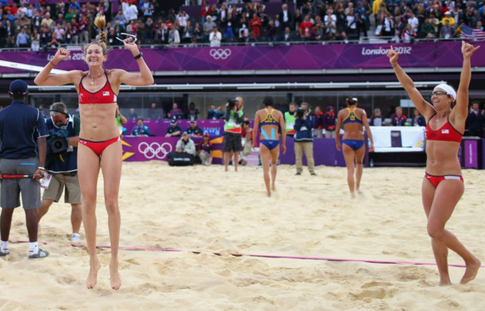 Gold! Kerri Walsh Jennings (left) with Misty May-Treanor. London 2012