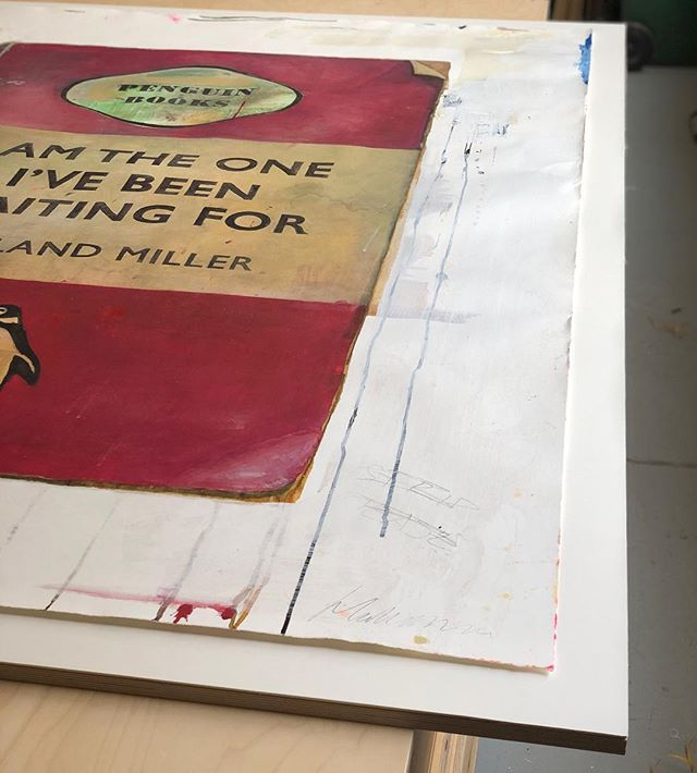 Float mounting this large Harland Miller in preparation for framing #briderandbull #framing #bespoke #stokenewington