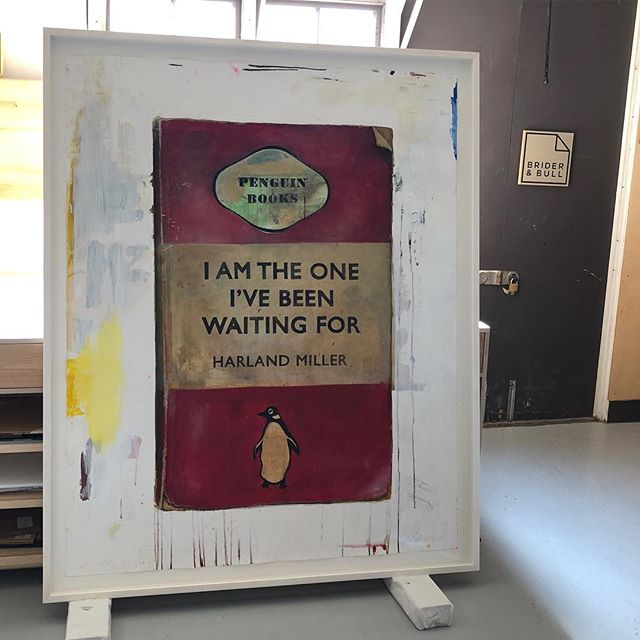 Harland Miller framed in Lime wood that is bleached and white washed. #briderandbull #stokenewington #framing #harlandmiller #n16 #artglass