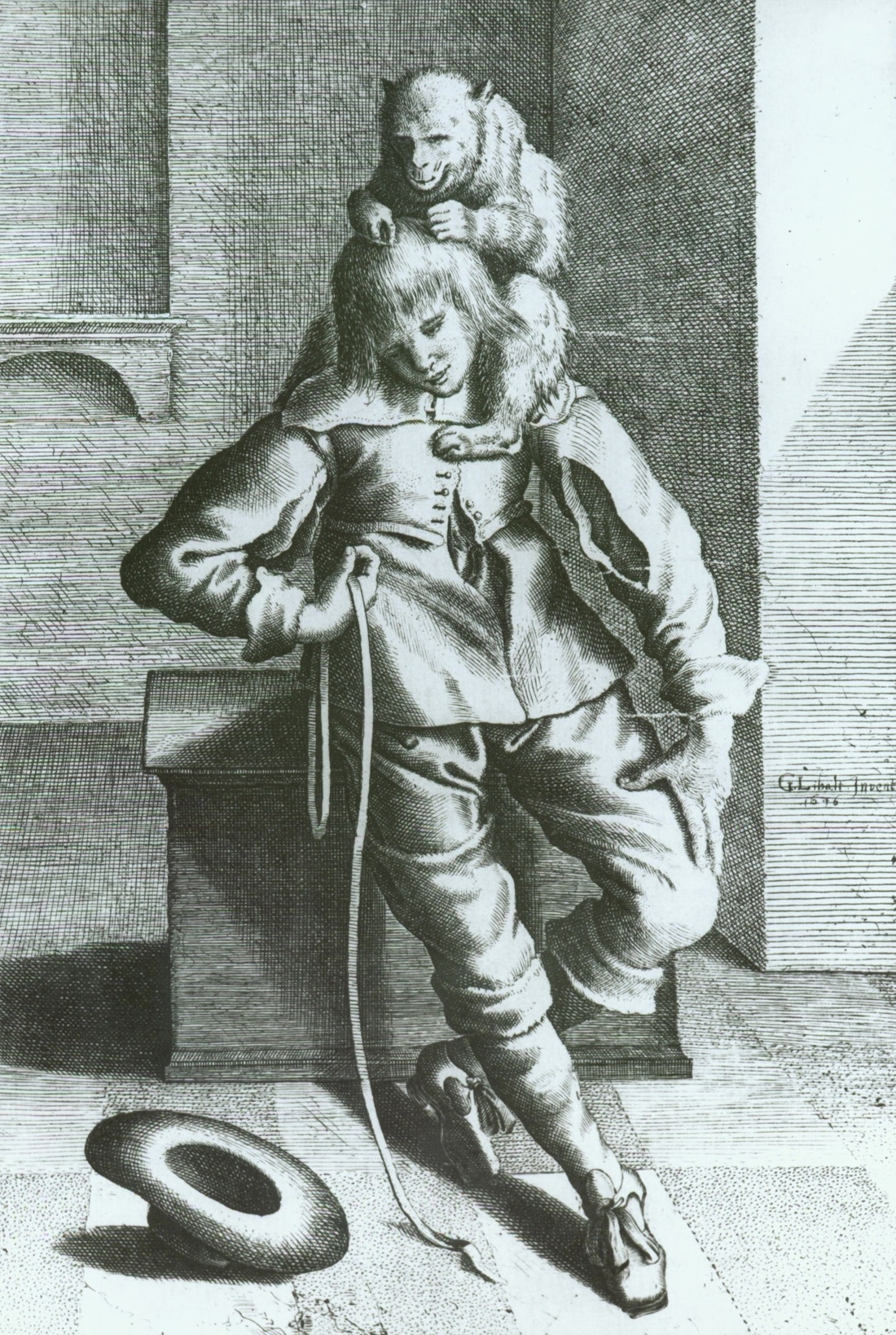 Fig 5a: Engraving after Gottfried Libalt,  A Cavalier with a Monkey , executed 1646, State Regional Archive, Plzen, Czech Republic