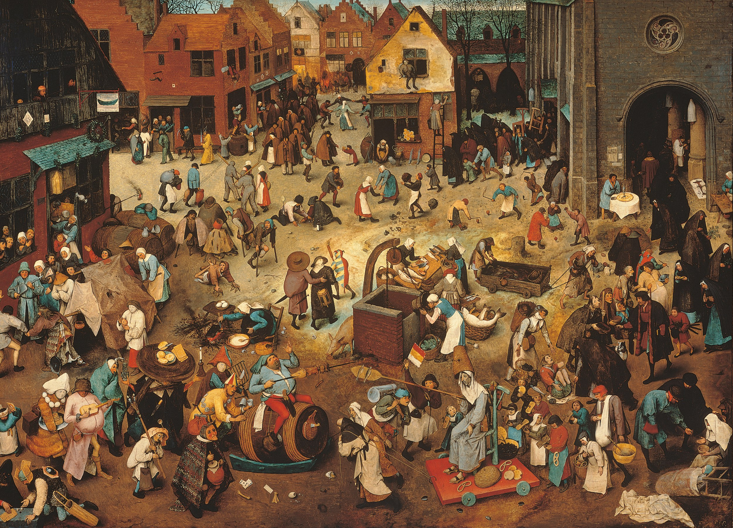 Pieter Bruegel the Elder (c. 1525-69),  Battle Between Carnival, or Mardi Gras, and Lent,  1559, oil on board, 46 1/2 x 64 4/5 inches (118 x 164.5 cm.) Collection of Kunsthistorisches Museum, courtesy of Kunsthistorisches Museum, Vienna, Austria, Mondadori Portfolio, Electa, Remo Bardazzi, Bridgeman Images