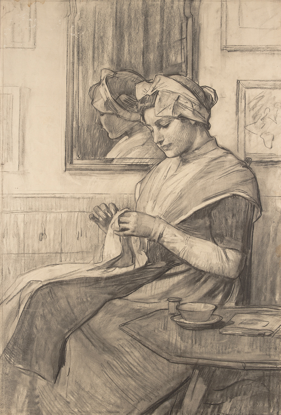 Nicolaas van der Waay,  Zittend weesmeisje met naaiwerk (Sitting orphan girl with sewing) , chalk on paper, 34 1/5 x 22 7/10 inches (86.9 x 57.6 cm.), Collection of the Amsterdam Museum, Courtesy of the Amsterdam Museum, bruikleen van Stichting Spirit, Amsterdam, The Netherlands
