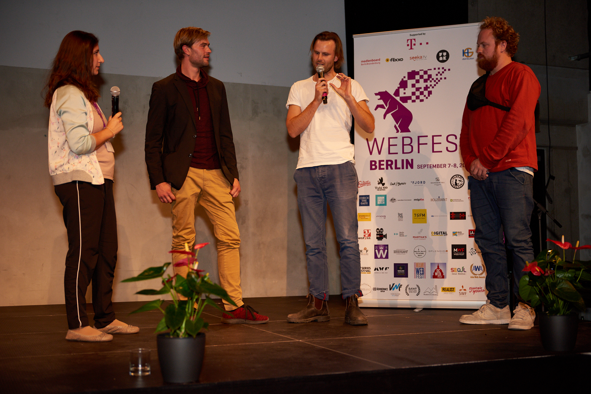 Q&A with the team of 'Klicknapped' (L to R) - Lina Kokaly - Commissioning Editor Radio Bremen, Chrisopher Reinhardt - Main Actor, Oliver Alaluukas - Director, Ole Hellwig - Producer