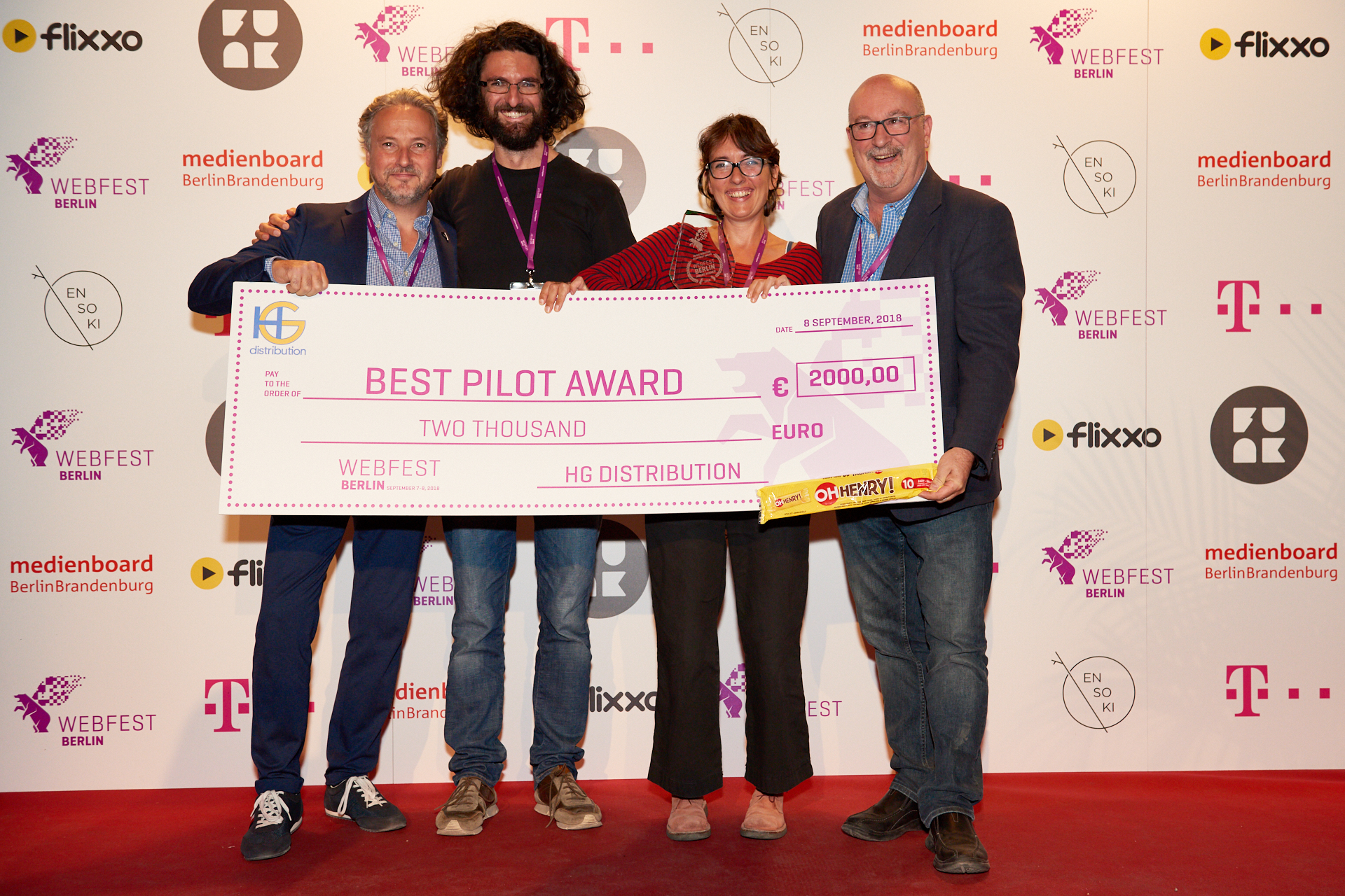 Best Pilot Award Winner - Twinky Doo's Magic World (IT) (L to R) Bernd Korz of Alugha, Alessandro Izzo (Writer/Director), Francesca Detti (Writer/Producer), Henry Gagnon of HG Distribution