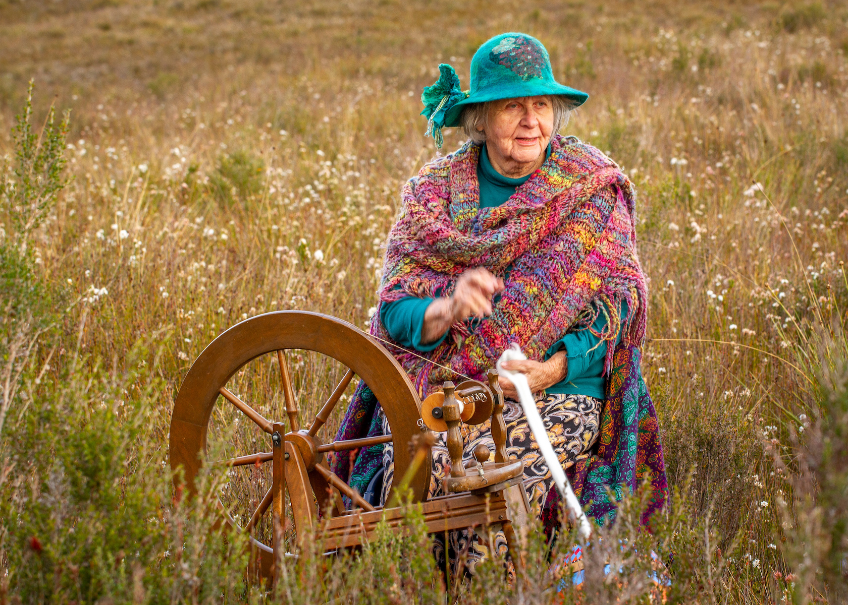 Stratie Stratford-Pearn_Spinning Amongst the Wild Flowers Outside of Zeehan_ Photo By Rebecca Thomson.jpg