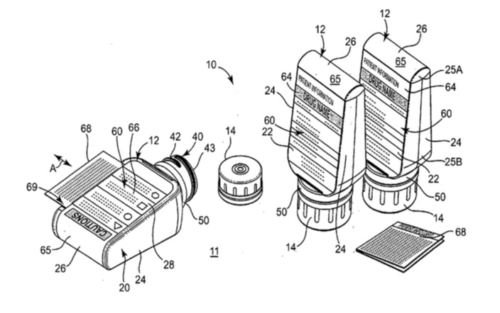 Illustration from the original ClearRxpatent,US2006163110 (A1), from designers Deborah Adler and Klaus Rosberg.