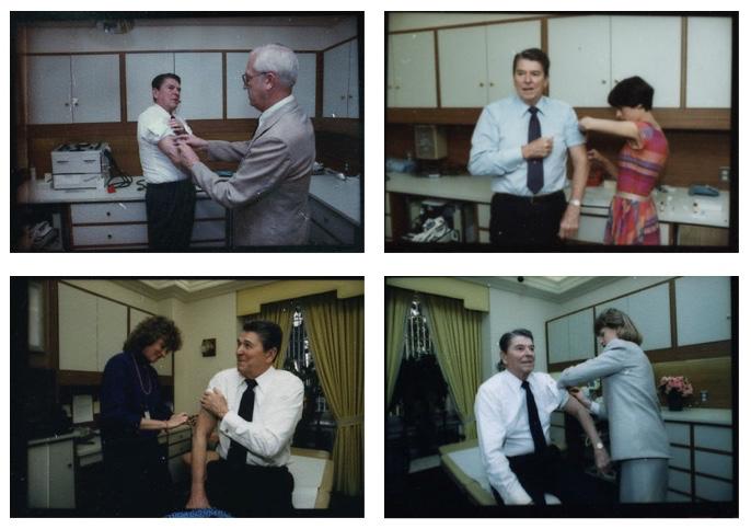 Photographs: L to R, T to B -Michael Evans: June 17, 1983;Pete Souza: July 9, 1985; March 12, 1986; March 8, 1988