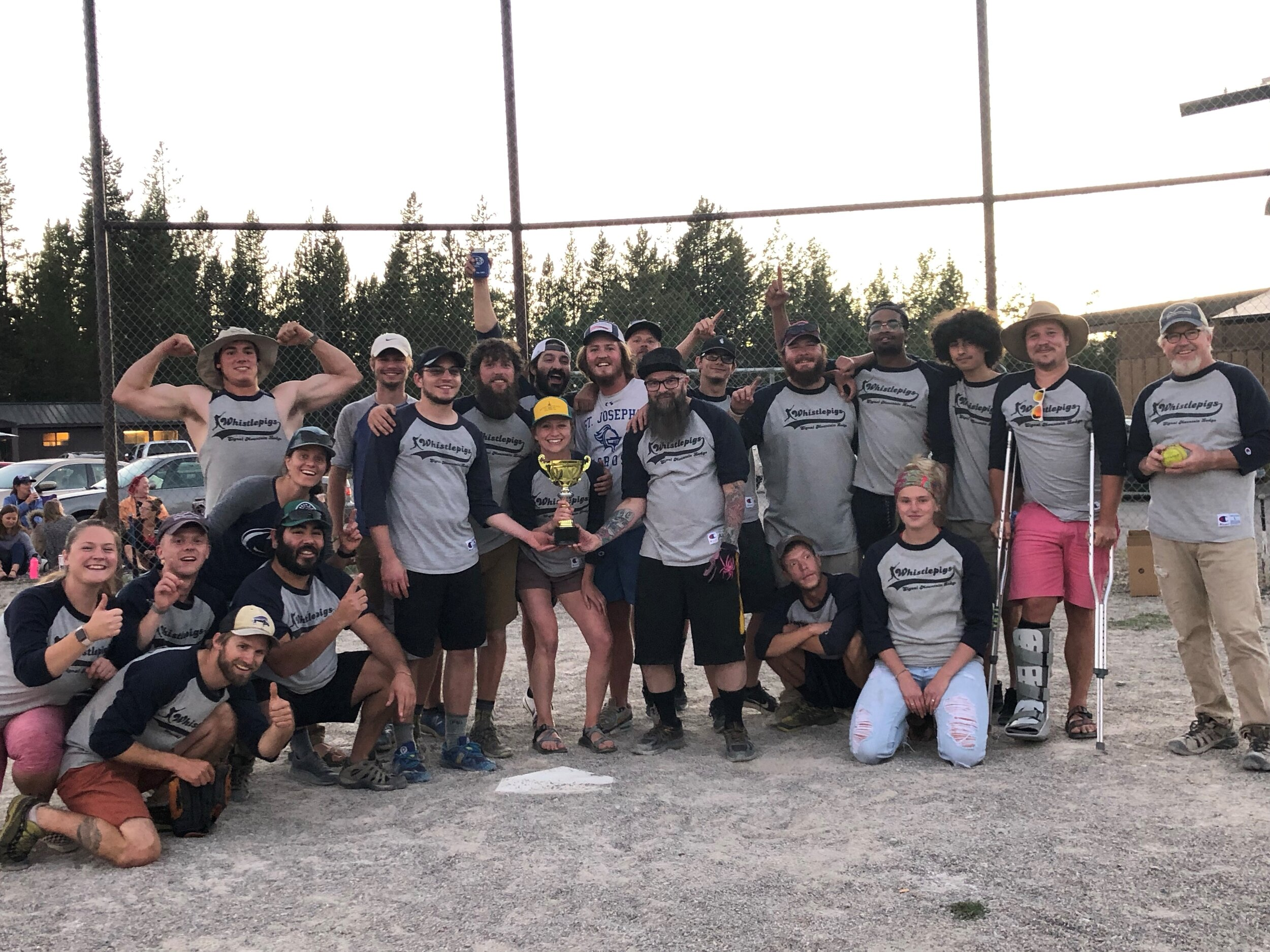 2019 Signal Mountain Lodge Whistlepigs - The Grand Teton National Park intramural softball league is one of the longest-standing traditions the summer season has to offer. Signal Mountain Lodge won the championship title in 2019. We're hoping to do it again in 2020!