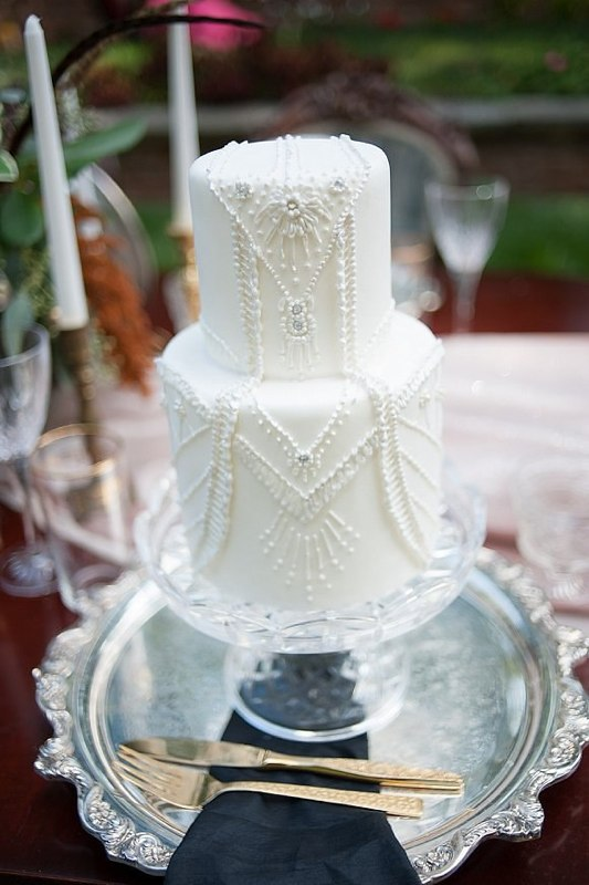 White Beaded Piped Wedding Cake - Photo by Jessica Maida Photography