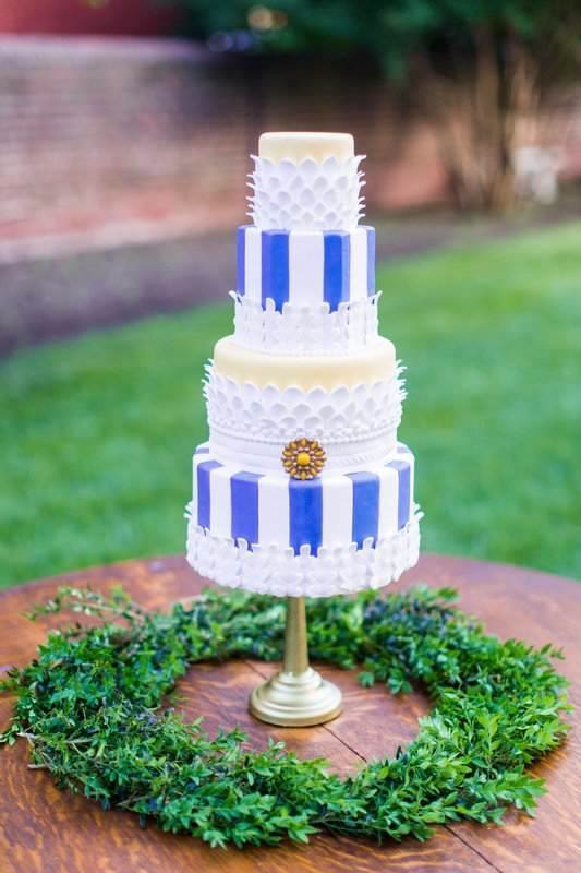 Blue Stripe Feather Lace Cake - Photo by Stephanie Yonce Photography