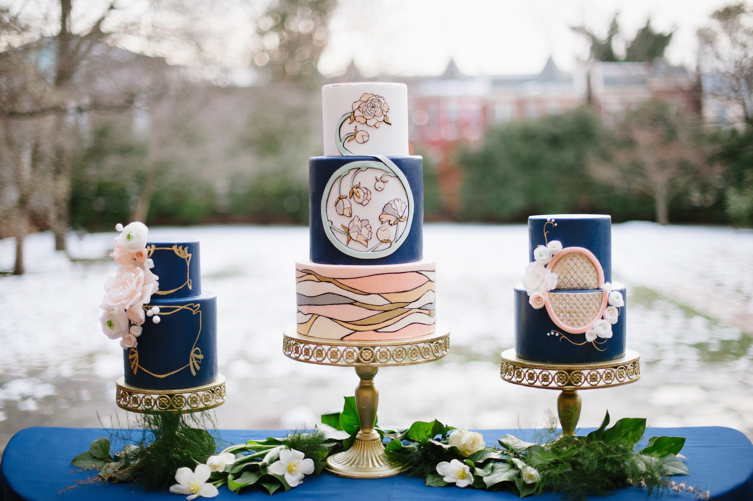 Art Deco Art Nouveau Wafer Paper Flowers Wedding Cakes - Photo by Jessica Maida Photography