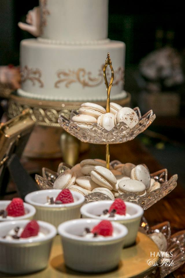 Macarons, Cake & Mousse with Raspberries Dessert Table - Photo by Hayes & Fisk