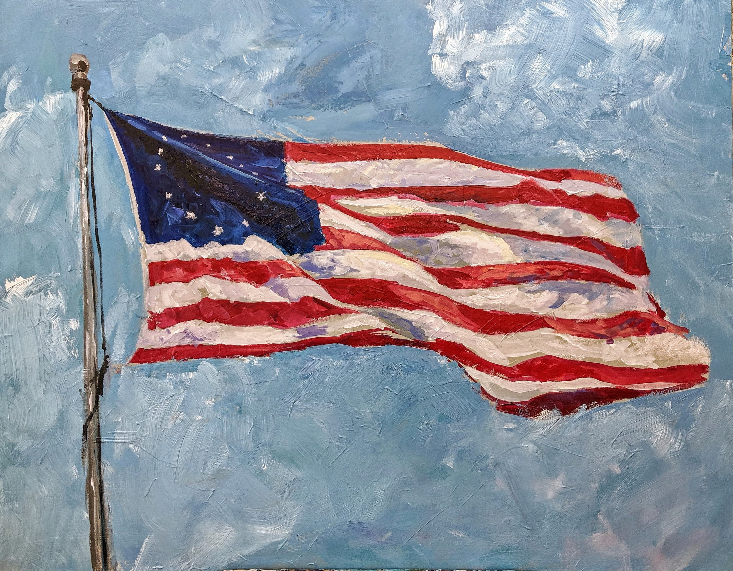 """Betsy Ross Flag - """"Artist Proof"""" Hand-Embellished Canvas - $475"""