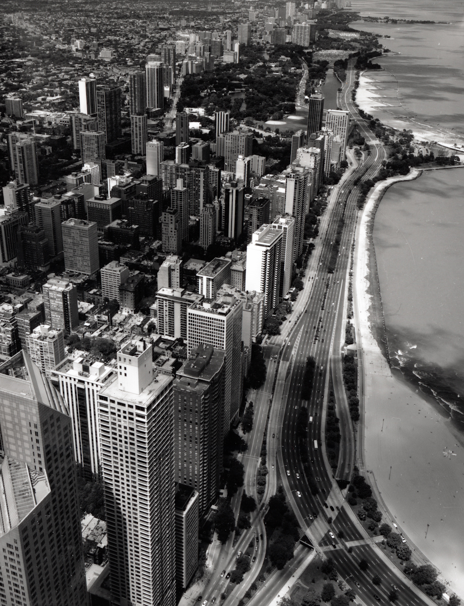 North Lake Shore Drive from Hancock Roof , 2000  Gelatin silver photograph  21 7/8 x 16 3/4 inches