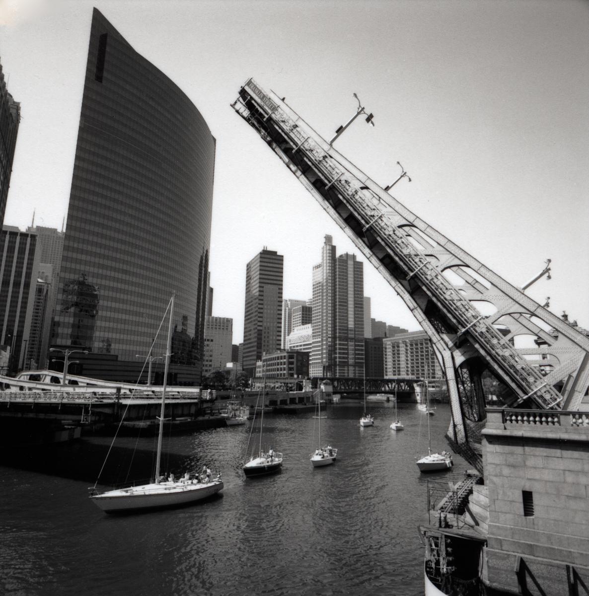 Franklin Street Bridge , 1999  Gelatin silver photograph.  17 5/8 x 18 inches