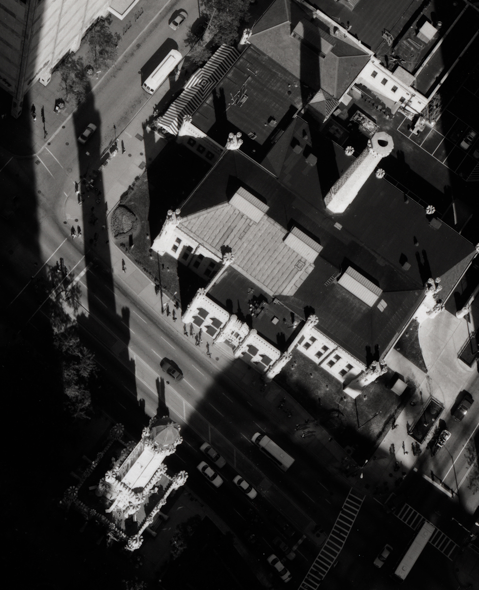 Water Tower from 70th Floor, Park Hyatt , 2000  Gelatin silver photograph.  21 7/8 x 16 3/4 inches
