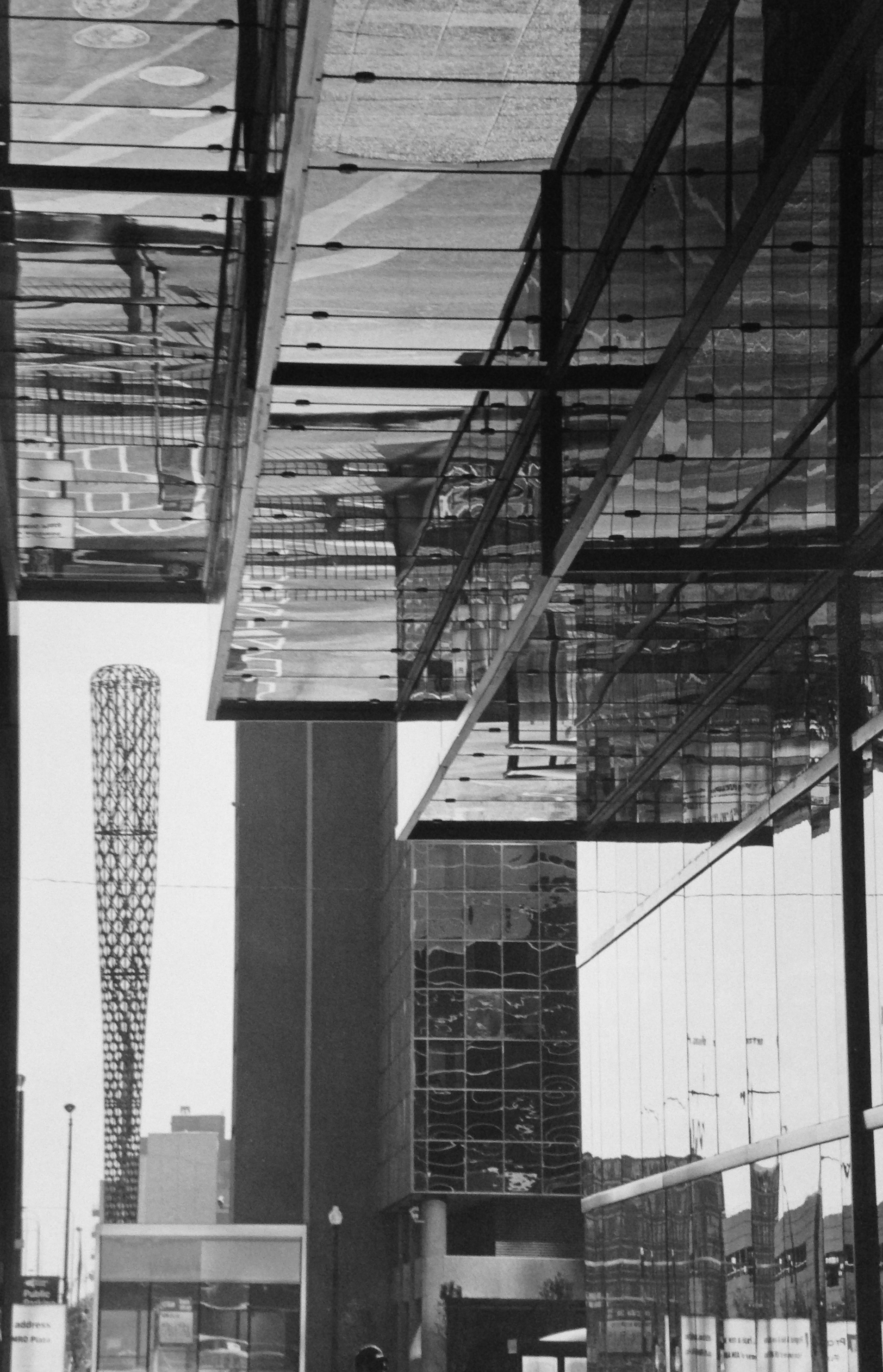 """Citigroup Center and """"Batcolumn"""" Sculpture by Claes Oldenburg, Chicago , 2001  Gelatin silver photograph.  11 3/4 x 7 3/16 inches"""