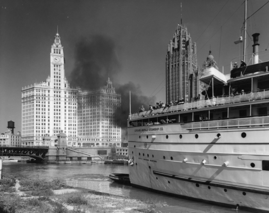 Leaving Chicago River for a Lake Michigan Excursion , 1930s  Gelatin silver photograph.   7 5/8 x 9 1/2 inches