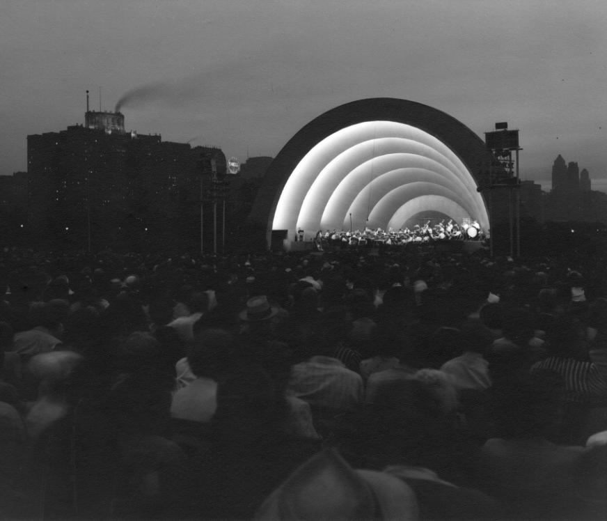 The Band Shell, Grant Park , 1930s   Gelatin silver photograph.  10 3/4 x 13 3/4 inches