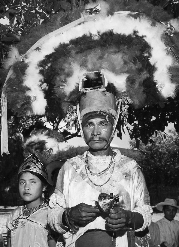 Dance of the Plumes, Near Oaxaca, 1946-8  Gelatin silver photograph on mount.   13 3/8 x 10 1/2 inches